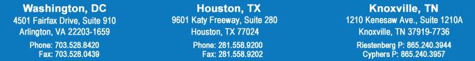 Office Locations; Washington DC, Houston, Knoxville